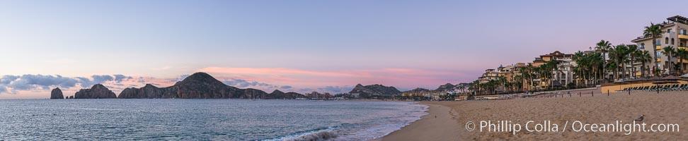 Sunrise on Medano Beach, on the coast of Cabo San Lucas, Mexico