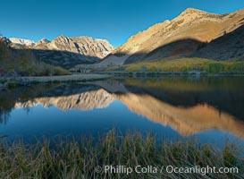 Sunrise in the Sierra Nevada, Paiute Peak reflected in North Lake in the eastern Sierra Nevada, in autumn. Bishop Creek Canyon Sierra Nevada Mountains, Bishop, California, USA, natural history stock photograph, photo id 26056
