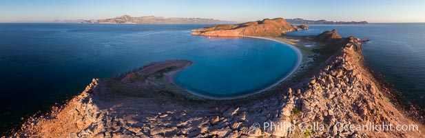 Sunrise over Isla San Francisquito, Aerial View, Sea of Cortez
