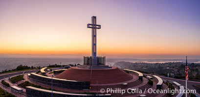 Sunrise over The Mount Soledad Cross, a landmark in La Jolla, California. The Mount Soledad Cross is a 29-foot-tall cross erected in 1954