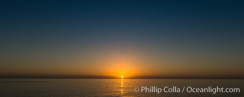 Sunrise over the Pacific Ocean, cloudless, viewed from Guadalupe Island, Guadalupe Island (Isla Guadalupe)