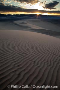 Image 25354, Sunset on the Eureka Dunes.  The Eureka Valley Sand Dunes are California's tallest sand dunes, and one of the tallest in the United States.  Rising 680' above the floor of the Eureka Valley, the Eureka sand dunes are home to several endangered species, as well as
