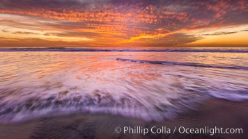 Sunset and incoming surf, gorgeous colors in the sky and on the ocean at dusk, the incoming waves are blurred in this long exposure. Carlsbad, California, USA, natural history stock photograph, photo id 27156