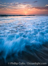 Sunset and incoming surf, gorgeous colors in the sky and on the ocean at dusk, the incoming waves are blurred in this long exposure. Carlsbad, California, USA, natural history stock photograph, photo id 27879