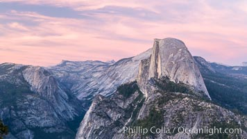 Sunset light on Half Dome, Tenaya Canyon at lower left, Yosemite National Park