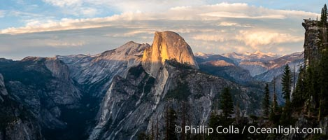 Sunset light on Half Dome and Clouds Rest, Tenaya Canyon at lower left, Yosemite National Park