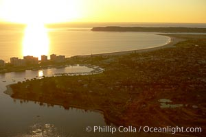 Sunset over Coronado Island and Point Loma, San Diego, California
