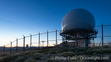 Sunset over Mount Laguna FAA Radar Site, including ARSR-4 radome (radar dome)