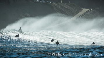 Surf and spray during Santa Ana offshore winds, San Diego, California