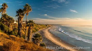 Swami's Beach at dusk, Encinitas. California, USA, natural history stock photograph, photo id 28836