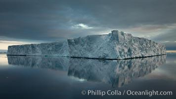 Tabular iceberg, Antarctic Peninsula, near Paulet Island, sunset. Paulet Island, Antarctic Peninsula, Antarctica, natural history stock photograph, photo id 24888