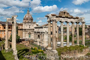 Temple of Saturn and the Roman Forum, Rome. Forum, Rome, Italy, natural history stock photograph, photo id 35557