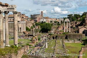 Temple of Saturn and the Roman Forum, Rome. Forum, Rome, Italy, natural history stock photograph, photo id 35597