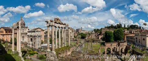 Temple of Saturn and the Roman Forum, Rome. Italy, natural history stock photograph, photo id 35598