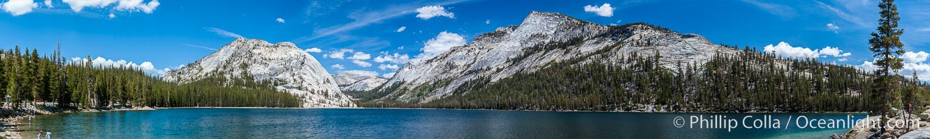 Panorama of Tenaya Lake, in Yosemite's high country, Yosemite National Park, California