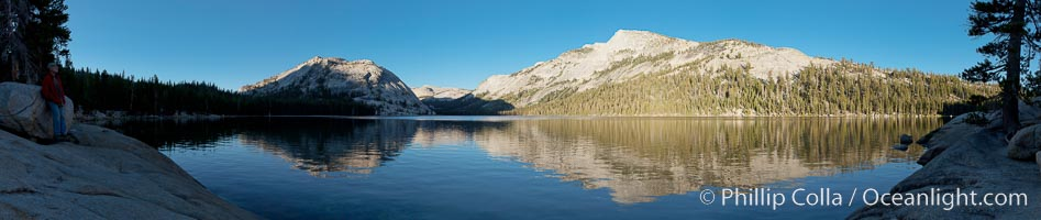 Tenaya Lake at sunset, panoramic view looking north, with Tenaya Peak (10,280') on the right and Medlicott Dome (9,880') on the left.  Tenaya Lake lies at 8,150' in the heart of Yosemite's high country, Yosemite National Park, California