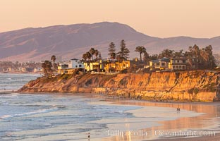 Terramar Sunset, viewed from North Ponto with Oceanside and Camp Pendleton in the distance. Carlsbad, California, USA, natural history stock photograph, photo id 35903