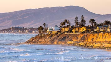 Terramar Sunset, viewed from North Ponto with Oceanside and Camp Pendleton in the distance, Carlsbad, California