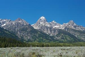 The Teton Range, summer. Grand Teton National Park, Wyoming, USA, natural history stock photograph, photo id 13014