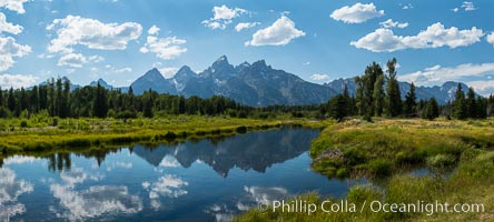 Teton Range from Schwabacher Landing, afternoon, Grand Teton National Park