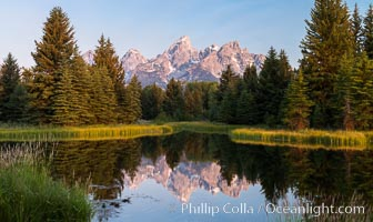 Teton Range from Schwabacher Landing, Grand Teton National Park., natural history stock photograph, photo id 32307