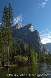 Three Brothers rises above the Merced River, Yosemite Valley, Yosemite National Park, California