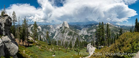 Thunderstorm Forming over Half Dome and the Yosemite High Country, from Glacier Point, Yosemite National Park