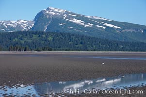 Tide flats exposed at low tide, with Chigmit Range in the background, Lake Clark National Park, Alaska