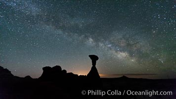 The Milky Way rises in the sky above the Toadstool Hoodoos near the Paria Rimrocks.  Rimrock Hoodoos. Grand Staircase - Escalante National Monument, Utah, USA, natural history stock photograph, photo id 26688