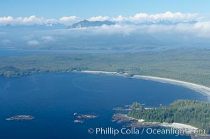 Ahouse Bay and Vargas Island, aerial photo, Clayoquot Sound in the foreground, near Tofino on the west coast of Vancouver Island. Tofino, British Columbia, Canada, natural history stock photograph, photo id 21078