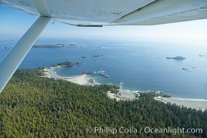 Cow Bay and Flores Island, aerial photo, part of Clayoquot Sound, near Tofino on the west coast of Vancouver Island
