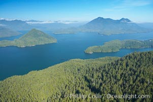 Flores Island (foreground) and Clayoquot Sound, aerial photo, near Tofino on the west coast of Vancouver Island. Tofino, British Columbia, Canada, natural history stock photograph, photo id 21083