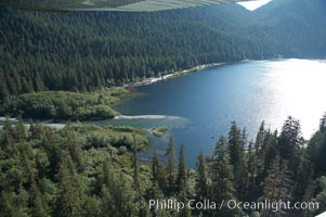 Megin Lake, aerial photo, near Tofino on the west coast of Vancouver Island