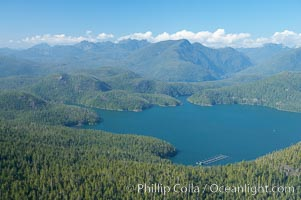 Flores Island (foreground) and Clayoquot Sound, aerial photo, near Tofino on the west coast of Vancouver Island. Tofino, British Columbia, Canada, natural history stock photograph, photo id 21116