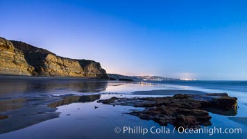 Torrey Pines Cliffs lit at night by a full moon, low tide reflections. Torrey Pines State Reserve, San Diego, California, USA, natural history stock photograph, photo id 28460