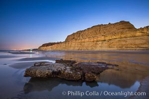 Torrey Pines Cliffs lit at night by a full moon, low tide reflections. Torrey Pines State Reserve, San Diego, California, USA, natural history stock photograph, photo id 28461