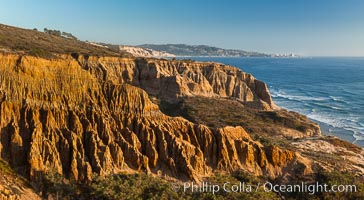 Torrey Pines Cliffs and Pacific Ocean, Razor Point view to La Jolla, San Diego, California. Torrey Pines State Reserve, USA, natural history stock photograph, photo id 28487