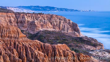 Torrey Pines Cliffs and Pacific Ocean, Razor Point view to La Jolla, San Diego, California. Torrey Pines State Reserve, San Diego, California, USA, natural history stock photograph, photo id 28497