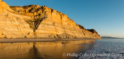 Image 29109, Torrey Pines cliffs at sunset. Torrey Pines State Reserve, San Diego, California, USA, Phillip Colla, all rights reserved worldwide.   Keywords: beach:black s beach:bluff:california:cliff:coast:la jolla:landscape:nature:ocean:outdoors:outside:pacific:park:reserve:san diego:sand:sandstone:scene:scenic:sea:seashore:shore:state park:state parks:torrey pines:torrey pines state beach:torrey pines state park:torrey pines state reserve:usa.