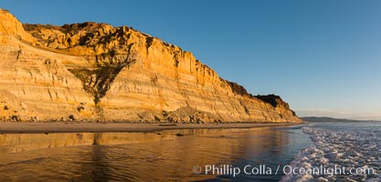 Torrey Pines cliffs at sunset. Torrey Pines State Reserve, San Diego, California, USA, natural history stock photograph, photo id 29110