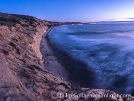 Torrey Pines cliffs at sunset. Torrey Pines State Reserve, San Diego, California, USA, natural history stock photograph, photo id 29111