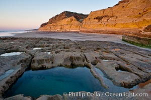 Sandstone cliffs of Torrey Pines State Reserve rise above a tidepool.  San Diego. California, USA, natural history stock photograph, photo id 14746