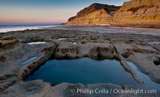 Sandstone cliffs of Torrey Pines State Reserve rise above a tidepool.  San Diego