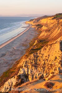 Black's Beach and Sandstone cliffs at Torrey Pines State Park, viewed from high above the Pacific Ocean near the Indian Trail, Torrey Pines State Reserve, San Diego, California