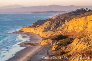 Torrey Pines sea cliffs at sunset, Flat Rock at low tide, looking north, Blacks Beach, La Jolla, California