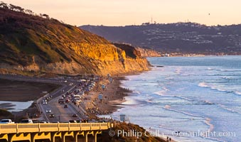 Torrey Pines State Beach at Sunset, La Jolla, Mount Soledad and Blacks Beach in the distance. Torrey Pines State Reserve, San Diego, California, USA, natural history stock photograph, photo id 35057
