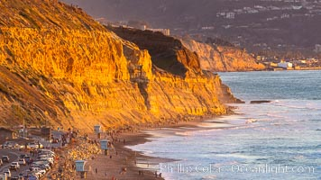 Torrey Pines State Beach at Sunset, La Jolla, Mount Soledad and Blacks Beach in the distance. Torrey Pines State Reserve, San Diego, California, USA, natural history stock photograph, photo id 35061