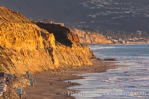 Torrey Pines State Beach at Sunset, La Jolla, Mount Soledad and Blacks Beach in the distance. Torrey Pines State Reserve, San Diego, California, USA, natural history stock photograph, photo id 35126