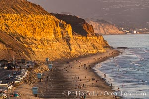 Torrey Pines State Beach at Sunset, La Jolla, Mount Soledad and Blacks Beach in the distance, Torrey Pines State Reserve, San Diego, California