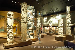 Totems on display in the Royal British Columbia Museum, Victoria, Canada